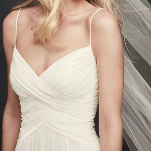 Ruched Bodice Chiffon A-Line Wedding Dress
